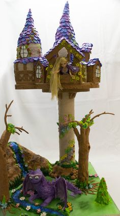 Tangled Tower and dragon cake  Cake by liesel