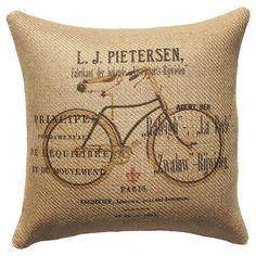 Burlap Bike Pillow.... bicycle burlap at Joanne fabrics