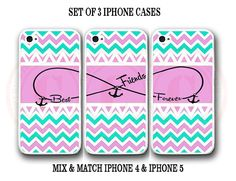 Personalize Mint Pink Chevron BFF Best Friends 3 Cases For iPhone 7+ 6S 6 SE 5S #UnbrandedGeneric