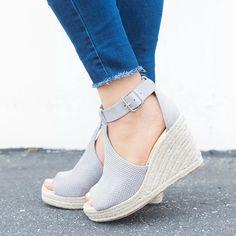 ef55a6764caa Shoes - Plus Size Summer Women Wedge Heels Peep Toe Sandal – Kaaum Grey  Espadrilles
