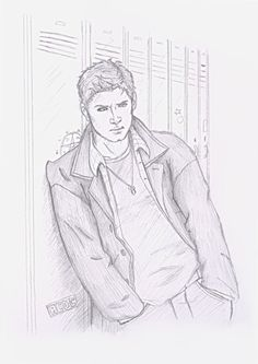 Teen Dean UTB by ~Seraph5 Supernatural Cartoon, Supernatural Drawings, Supernatural Fan Art, Dean Winchester, Charlie Bradbury, Animal Drawings, Art Drawings, Art Sketches, Drawing Studies