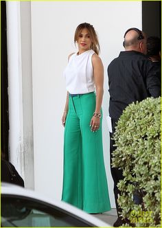 Jennifer Lopez with Marlene trousers and silk top