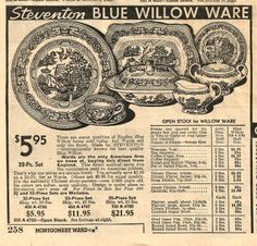 Blue Willow dishes from old Montgomery Ward catalog with prices