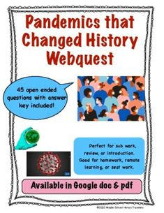 Pandemics that Changed History Webquest Middle School History, Teaching History, Teacher Newsletter, Timeline, Students, Change, This Or That Questions, Learning, Education