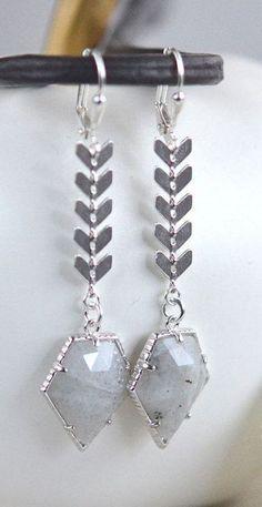 Labradorite Dangle Earrings in Silver