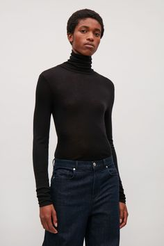 COS image 2 of Roll-neck wool top in Black
