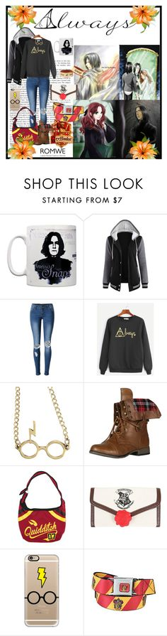 """Gryffindor Potterhead - Romwe Sweatshirt"" by barnhillmadison on Polyvore featuring WALL, WithChic, Warner Bros., Forever Link and Casetify"