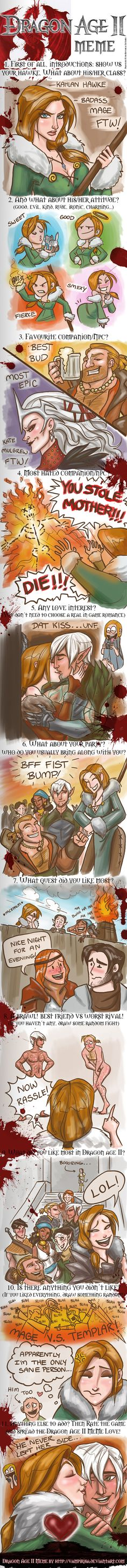 """Dragon Age II Meme by WendyDoodles on deviantART ****Favorite panel:  Fenris and Anders naked and Hawke says """"Now rassle"""" LMAO"""