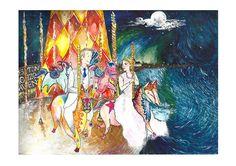 True romance... #groom #bride #drawing #art #illustration #watercolour #carousel #horse #moon #cardiffbay