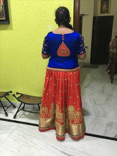 One of my own ideas Kids Indian Wear, Kids Ethnic Wear, Kids Blouse Designs, Blouse Neck Designs, Ladies Outfits, Kids Outfits, Long Frocks For Girls, Blouse Desings, Frocks And Gowns