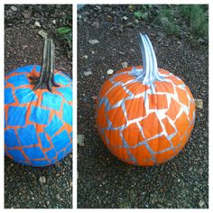 Before and after. Painters tape, silver spray paint, and poof...a lovely mosaic pumpkin! Easy decoration; could be done in any color.