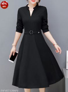 V Neck Fashion Plain Skater Dress. Color  Black Green Red Size  S M L Xl ... 3fd96ce070d9
