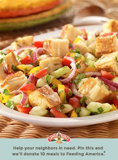 How would you improve on a classic Italian bread salad? With cheese. But, of course. Learn more about Pin a Meal. Give a Meal. and Feeding America® at LandOLakes.com/pinameal. (Pin any Land O'Lakes recipe or submit any recipe pin at LandOLakes.com/pinameal.)