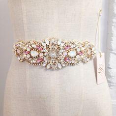 Blush and Gold Crystal Bridal Sash- Crystal Bridal Sash- Crystal and Opal Bridal…