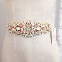 Blush and Gold Crystal Bridal Sash- Crystal Bridal Sash- Crystal and Opal Bridal Sash
