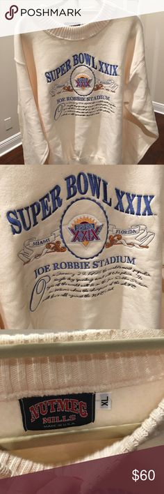 NEW! Never Worn Super Bowl 29 Sweatshirt! NEW! Never Worn Super Bowl 29 Sweatshirt!  For that sports fan and collector!   Super Bowl XXIX Sweatshirt in Miami, Florida at the old Joe Robbie Stadium!   Size: XL Color: Ivory  Embroidered  Includes date - January 29, 1995 and write up about the Super Bowl at Joe Robbie  Sweater material around the neck and sleeves  San Diego Chargers vs San Francisco 49ers Super Bowl XXIX Champs - The 49ers Sweaters