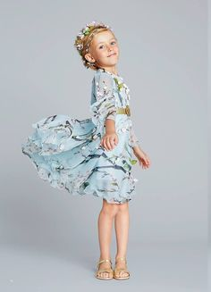 Soft Blue Floral Girls' Dress
