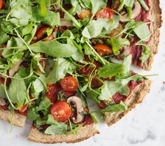 Deliciously Ella: Cauliflower Crust Pizza. Dough made from cauliflower, brown rice (or buckwheat flour), chia seeds & apple sauce. Grab a slice.