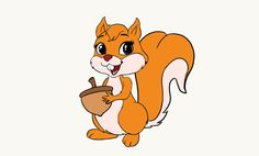Learn to draw a cute cartoon Squirrel. This step-by-step tutorial makes it easy. Kids and beginners alike can now draw a great looking Squirrel. Cartoon Kunst, Cartoon Drawings, Easy Drawings, Cartoon Art, Happy Squirrel, Squirrel Art, Cute Squirrel, Crocodile Illustration, Squirrel Illustration