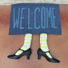 Adorable witch welcome mat - perfect for Halloween!