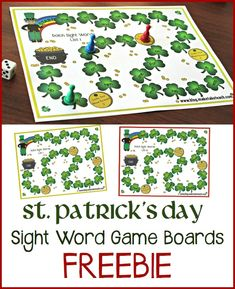 Free St. Patrick's Day game boards for learning and practicing sight words