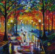 """Couple Couples Girlfriend Boyfriend In Love Romantic LOVE Park Lights Original Painting """"I Got You Babe"""" Leslie Allen Fine Art. $135.00, via Etsy."""