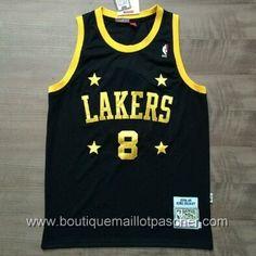 maillot nba pas cher Los Angeles Lakers Bryant #8 retro Noir star mesh tissu 22,99€