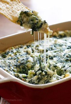 Yeah baby! Bring this hot spinach and artichoke dip to your next party, no one will know it's light! Easy to make ahead then bake when you're ready to eat.  Sharing this from the archives as I remade this for a party and thought you would like it too! Wishing you all a very happy holiday!      Hot Spinach and Artichoke Dip  Skinnytaste.com Servings: 15 • Serving Size: 1/4 cup • Points +: 2 pts • Smart Points: 2  Calories: 73 • Fat: 4.5 g • Carb: 3.5 g • Fiber: 1 g • Protein: 5 g • Sugar: 0.6…