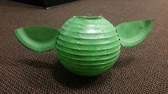 Yoda lanterns. Paper lantern, paper plates, paint and some glue