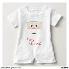 Santa Face on a Baby Romper