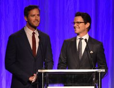 Matt Bomer Photos - Armie Hammer and Matt Bomer speak onstage at the Hollywood Foreign Press Association's Grants Banquet at the Beverly Wilshire Four Seasons Hotel on August 2, 2017 in Beverly Hills, California. - Hollywood Foreign Press Association's Grants Banquet - Show