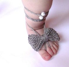 Baby Linen Barefoot Knitted/Crochet Baby Barefoot by ManCrochets, $5.60