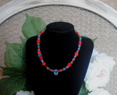 Red Coral and Milifiore bead necklace by FairydustJewelryshop on Etsy