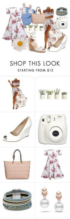 """""""floral dress"""" by kawaiicosplay123 ❤ liked on Polyvore featuring Allstate Floral, Fujifilm, Karl Lagerfeld, Design Lab and Escalier"""