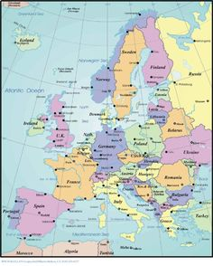 Map of Europe. We're starting in Amsterdam and making our way down to Rome :)