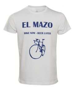 Camiseta Bike Now Beer Later blanca