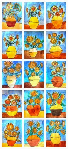 Van Gogh Do warm colors on the flowers and cold colors in background/ resist crayon and watercolor background. Van Gogh Art, Art Van, Van Gogh For Kids, Art For Kids, Hogwarts, 4th Grade Art, Sunflower Art, Ecole Art, School Art Projects