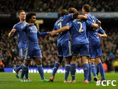 Chelsea vs Manchester City. Team celebrating #CFC