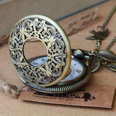 big size Retro hollow style Pocket watch Locket Necklace, vintage leaf and bird