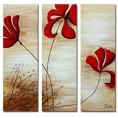 Red Flowers Oil Painting - Set of 3 - Free Shipping