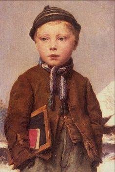 """""""Berner Boy"""" (1875), by Swiss artist - Albert Anker (1831-1910), Oil on canvas, 82.4 x 54 cm. (32.44 x 21.26 in.), Kunsthaus - Zurich, Switzerland."""