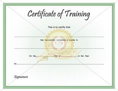 13 Best CERTIFICATE OF TRAINING images in 2014 | Training