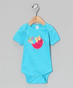 This Petunia Petals Turquoise Bird Bodysuit - Infant by Petunia Petals is perfect! #zulilyfinds