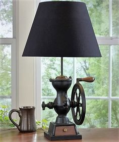 Antique Coffee Grinder Table Lamp - Cast Iron Coffee Decor