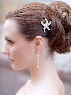 Silver Rhinestone Starfish Hair Pin by Hair Comes the Bride  www.HairComestheBride.com