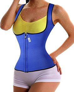 4 Color Neoprene Sweat Sauna Hot Body Shaper Fat Burner Tank Top Yoga Vest (M, Blue) * Visit the image link more details.