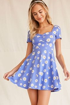 Product Name:Floral Ruched Skater Dress, Category:dress, Simple Dresses, Cute Dresses, Short Dresses, Girls Dresses, Casual Dresses For Teens, Summer Dresses, Style Victoria Beckham, Dress Outfits, Fashion Dresses