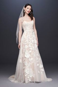 Searching for the latest wedding gowns & newest wedding dress designs? David's Bridal offers an extensive 2020 new wedding dresses collection. Floral Wedding Gown, Bridal Wedding Dresses, Bridal Style, Wedding Attire, Wedding Outfits, Lace Wedding, Davids Bridal, Wedding Dresses With Straps, Bridal Fashion Week