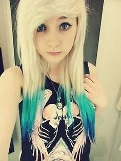 Blonde and electric blue scene hair :) I love this