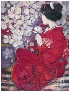 Geisha Reflection Art Print by Ivo at Art.com Asian Artwork, Japanese Artwork, Japanese Painting, Japanese Prints, Afrique Art, Art Chinois, Reflection Art, Geisha Art, Art Asiatique